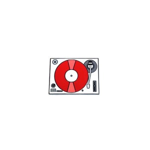 Image of Record Player / Turntable (Red) lapel pin