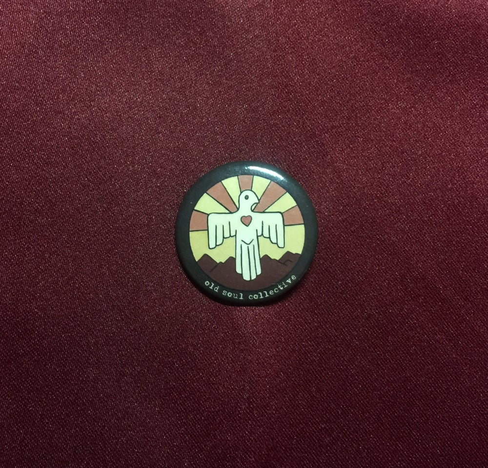 """Image of Old Soul Collective LoveBird Logo Pin 1.5"""""""