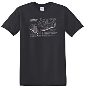 Channeled '32 Roadster Cutaway T-shirt - Wow, Long Sleeves, too!