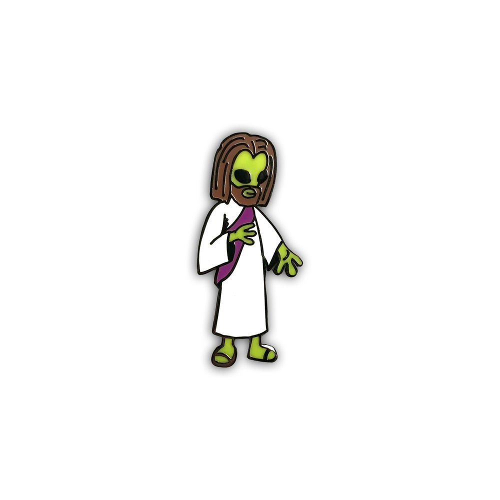 Image of Alien Jesus lapel pin