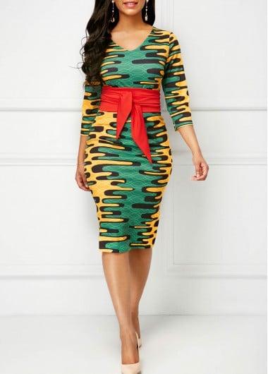 Image of Victoria Print Bodycon Dress