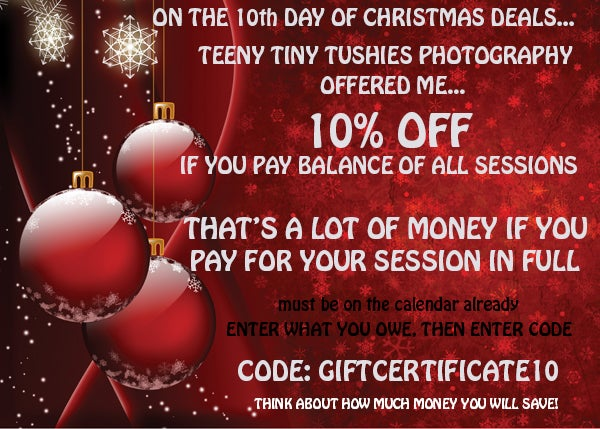 Image of XMAS DEAL 10- 10% OFF WHEN PAYING BALANCE OF YOUR SESSIONS FOR 2019/2020