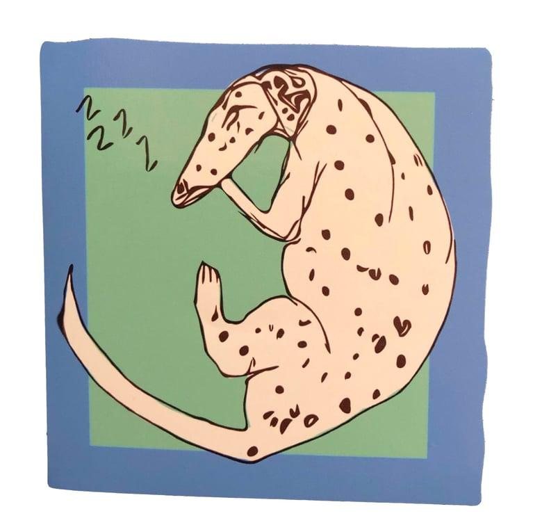 Image of KMAdotcom Tash's Sleeping Dog Sticker