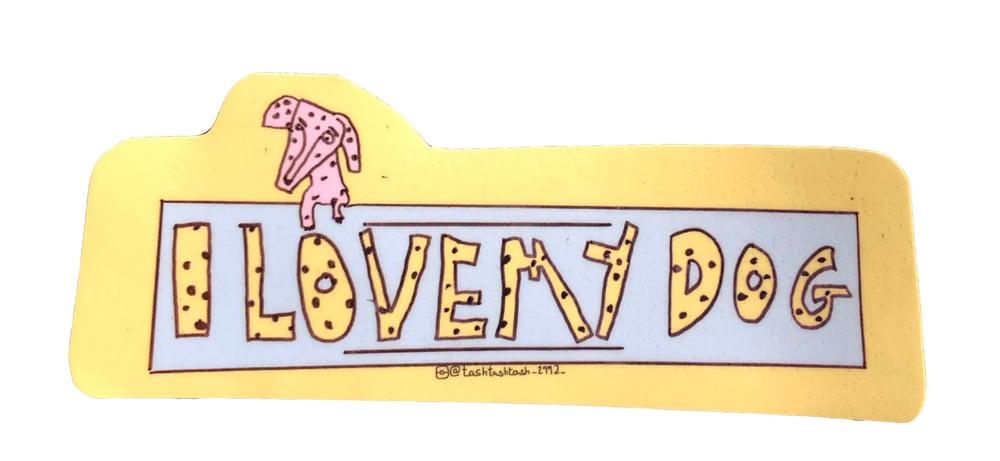 Image of KMAdotcom Tash's 'I love my dog' sticker