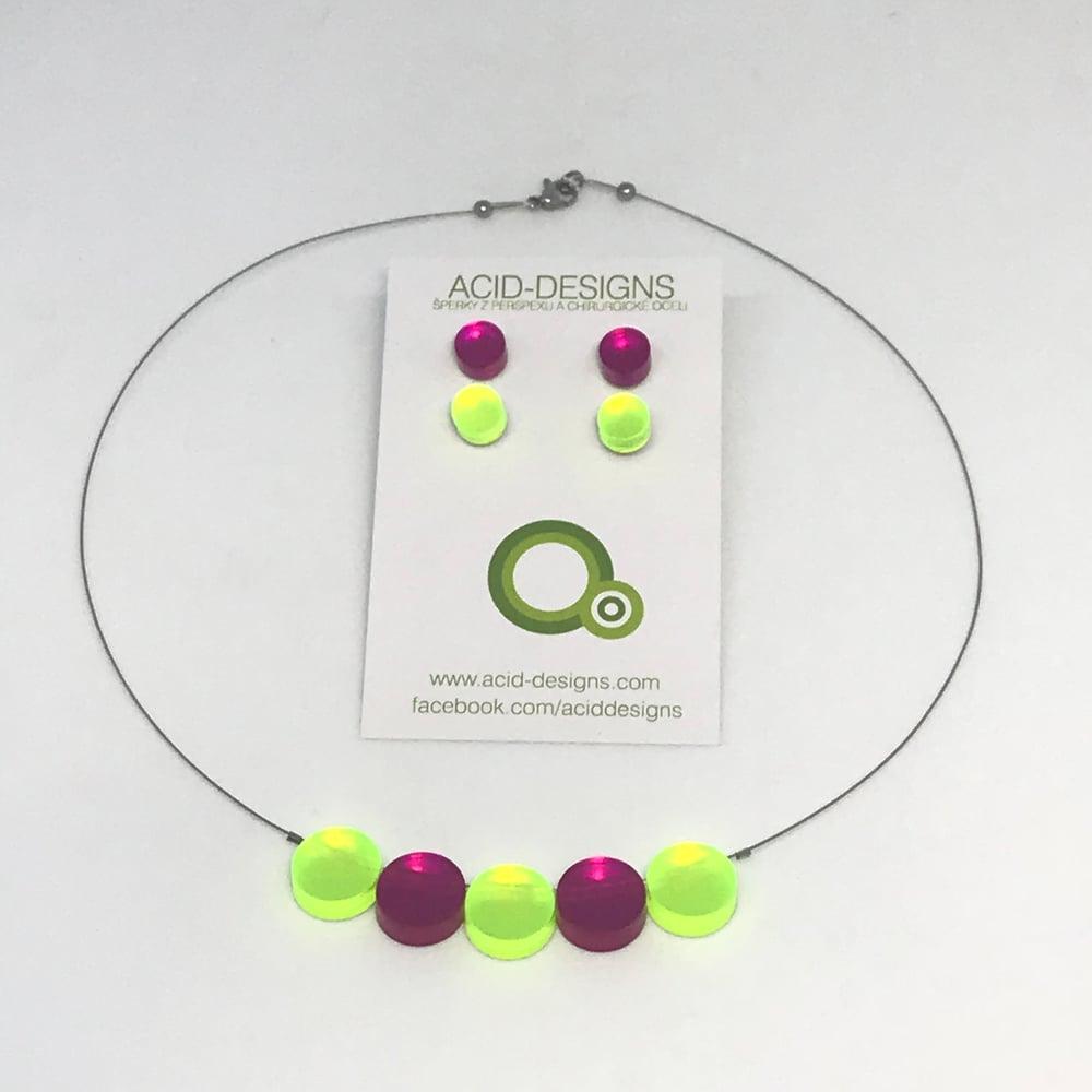 Image of Náhrdelník Circle Fluorescentní zelená-fuksiová samostatně a kombinace setů