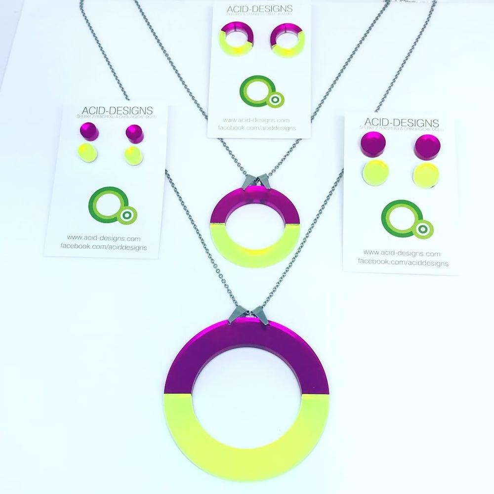Image of Náhrdelník DoubleCircle fuksiová- fluorescentní zelená