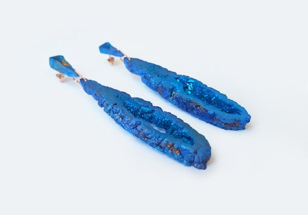 Image of NEW! Geode Drop Earrings // Cobalt // NOCTURNE
