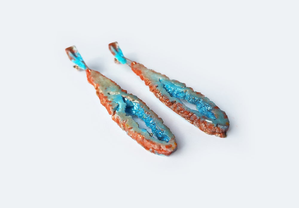Image of NEW! Geode Drop Earrings // Glacial Desert // NOCTURNE