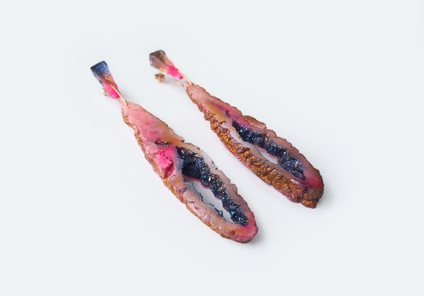 Image of NEW! Geode Drop Earrings // Coral Chasm // NOCTURNE