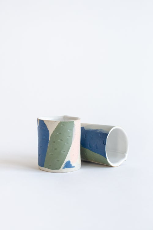 Image of Cobalt Green and Peach Handleless mugs