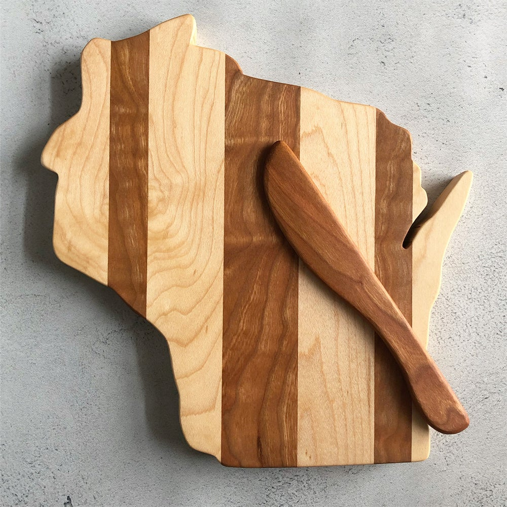 Image of Maple and cherry Wisconsin cutting board