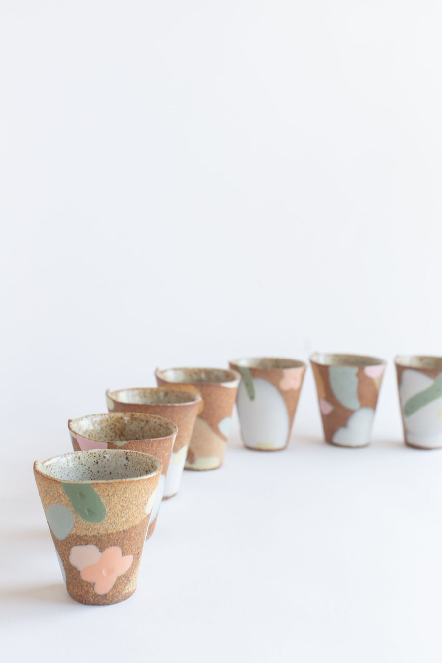 Image of Mini Party Tumbler - Desert Sand, Peach flowers and sage leaves