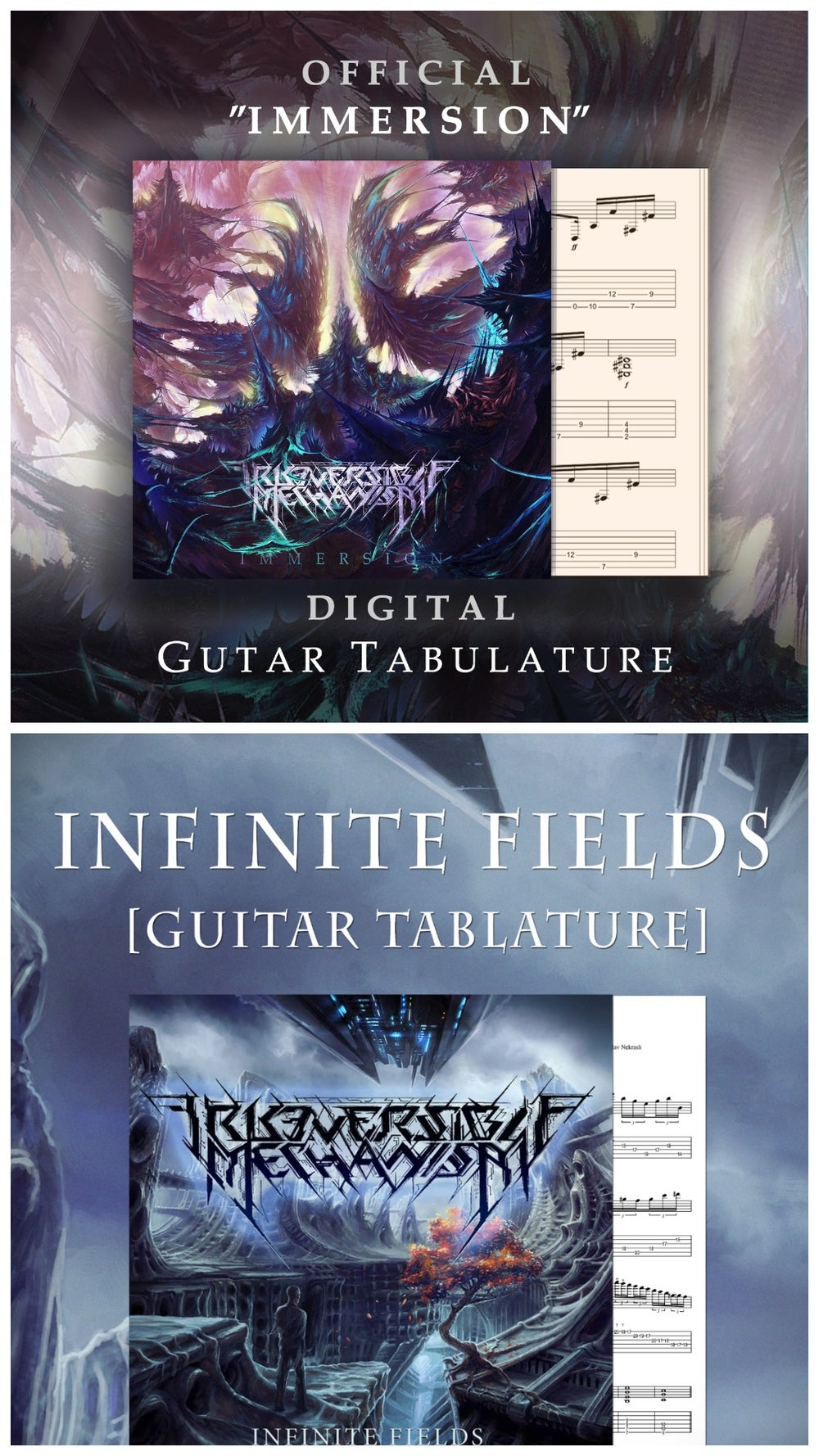 "Image of Digital guitar, bass tabs, instrumental versions ""Infinite Fields"" / ""Immersion"""