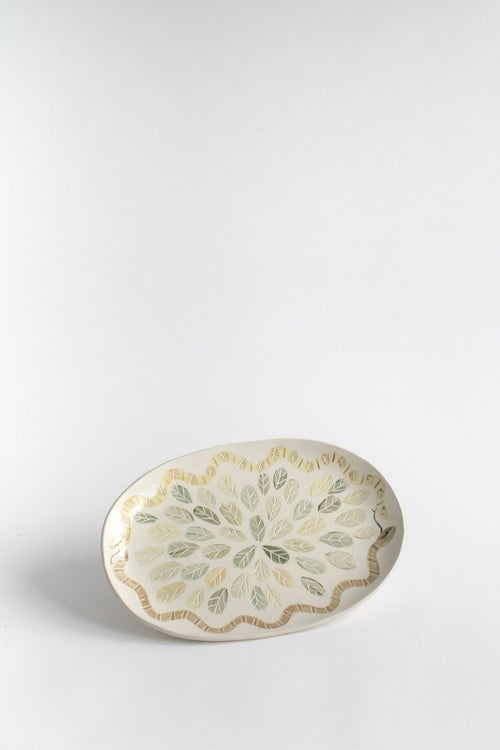 Image of Hand Painted and carved Snake Oval Serving Platter no. 3