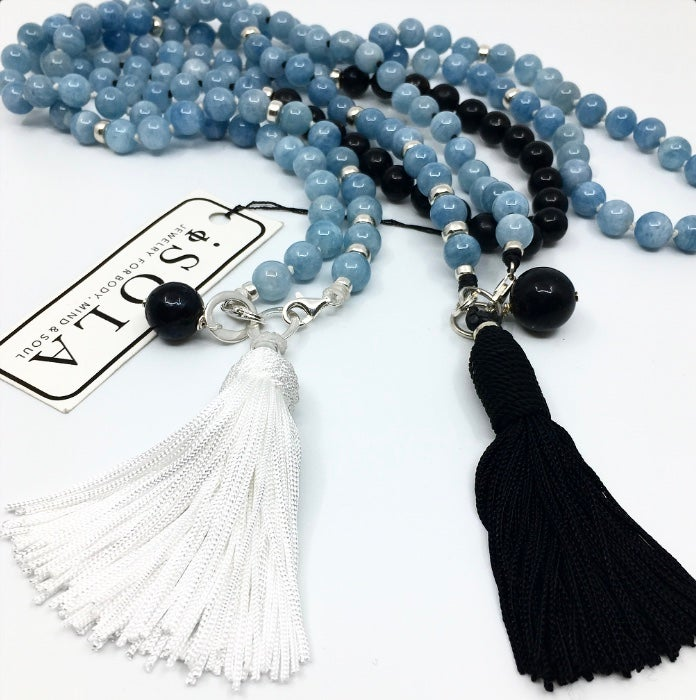 Image of Double Infinity Aquamarine Mala 88