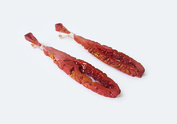 Image of NEW! Geode Drop Earrings // Red // NOCTURNE