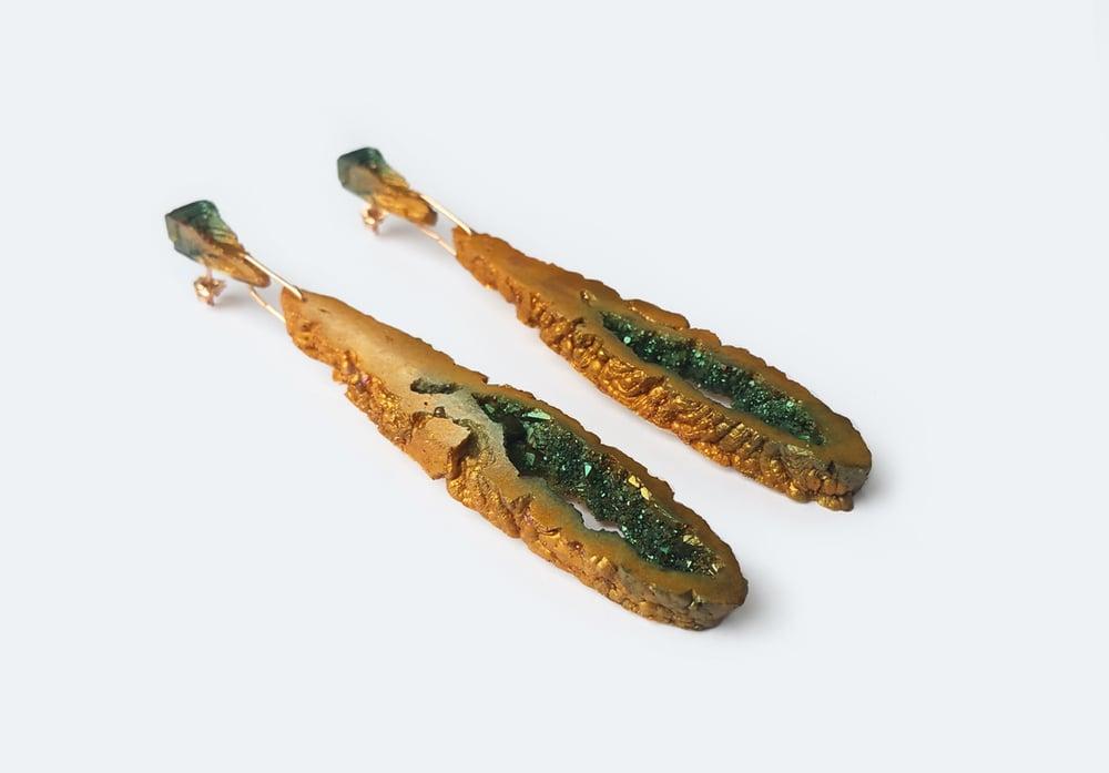 Image of NEW! Geode Drop Earrings // Golden moss // NOCTURNE
