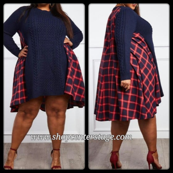 Image of Plaid me sweater dress