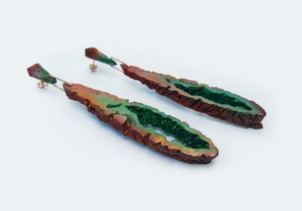 Image of NEW! Geode Drop Earrings // Jungle  // NOCTURNE