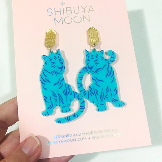 Image of Tiger Twins Dangles (Turquoise/Gold)