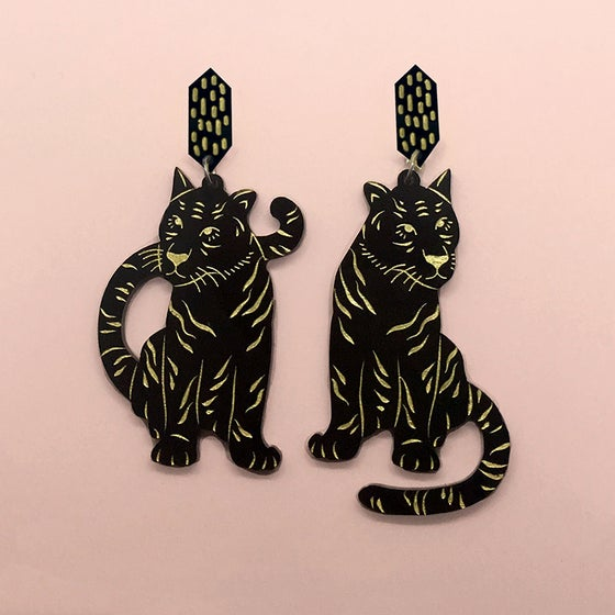 Image of Tiger Twins Dangles (Black/Gold)