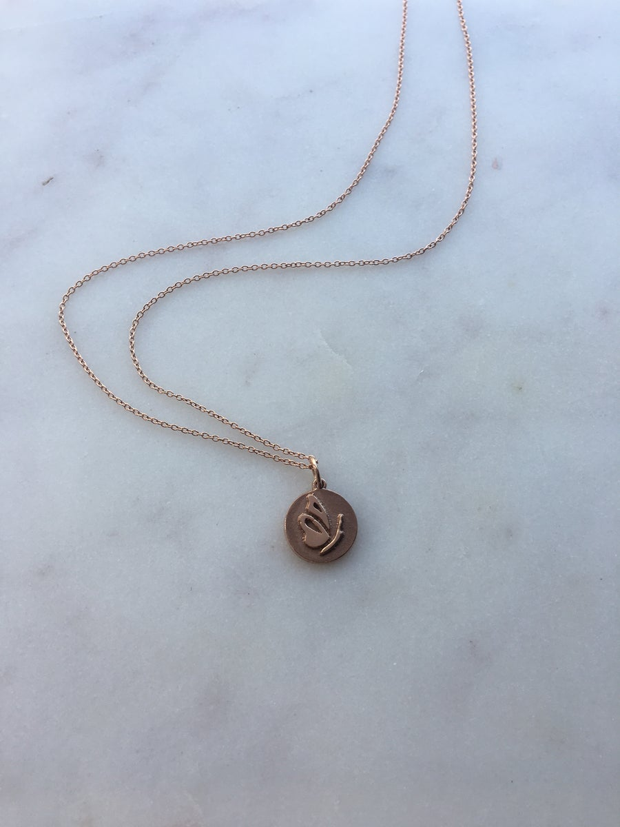 Image of Rose Gold Butterfly Charm Necklace