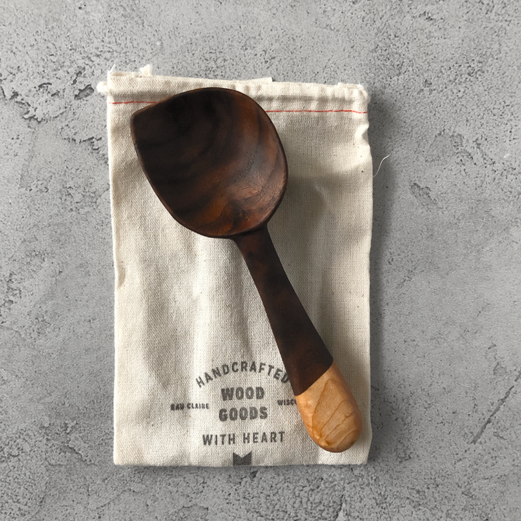 Image of Walnut and birdseye maple coffee scoop