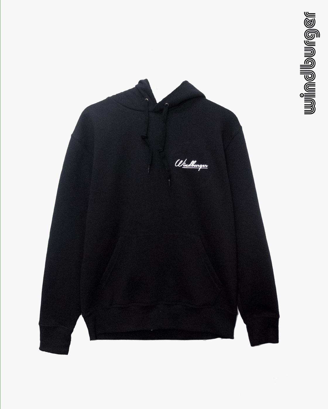Image of black windburger hoodie