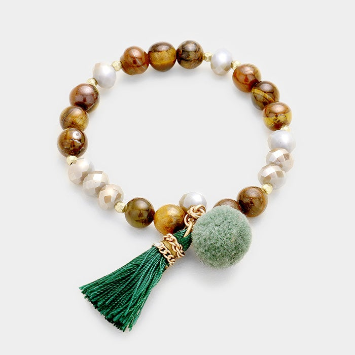 Image of Beaded Tassel Bracelet