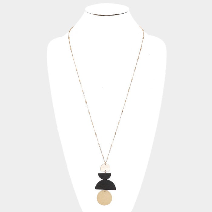 Image of Geometric Metal & Wood Necklace