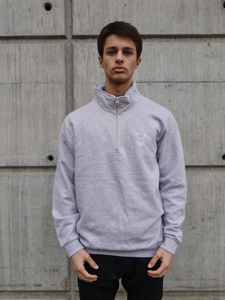 Image of Heather Gray Zip Neck Sweats Logo Heart Embroidered
