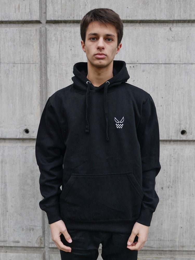 Image of Black Hoodies Logo Heart Embroidered