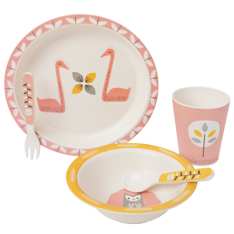 Image of Fresk Bamboo Mealtime Set - Swan