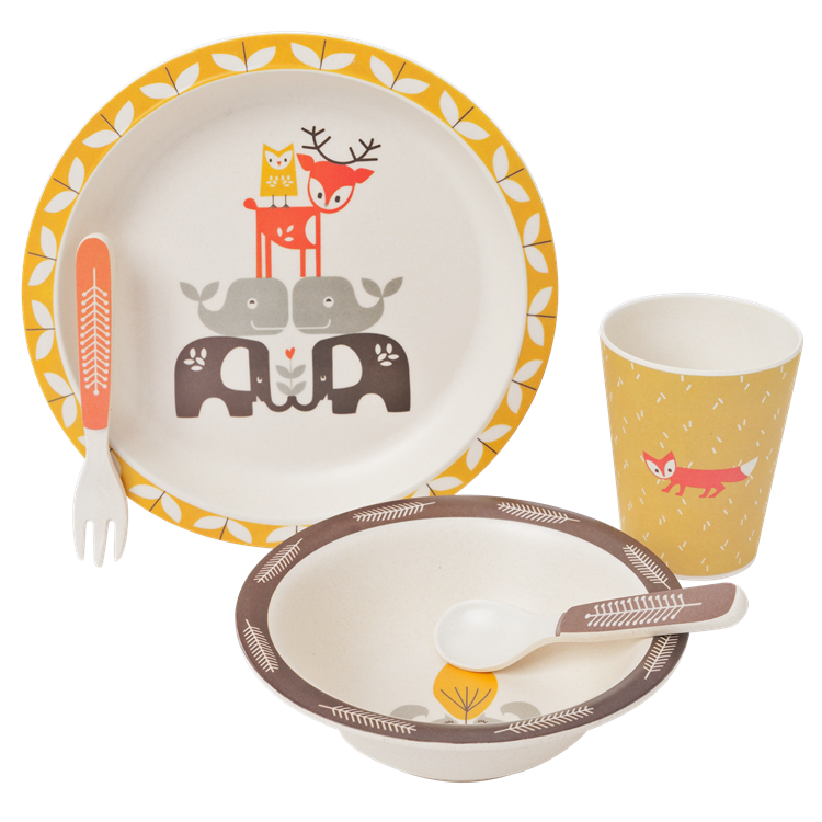 Image of Fresk Bamboo Mealtime Set - Forest Friends