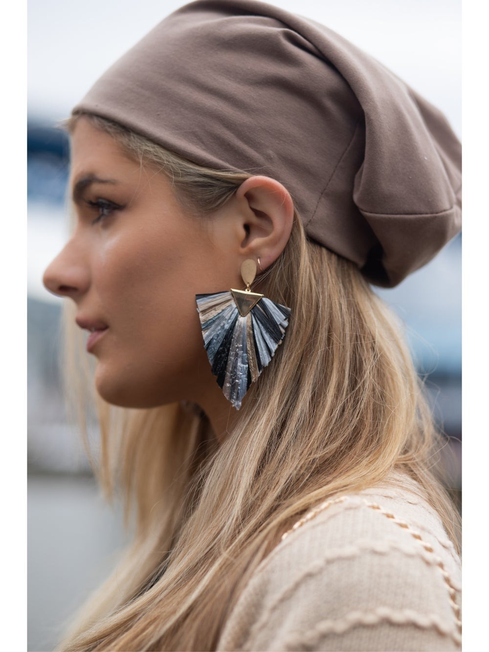 Image of Raffia Triangle Earrings