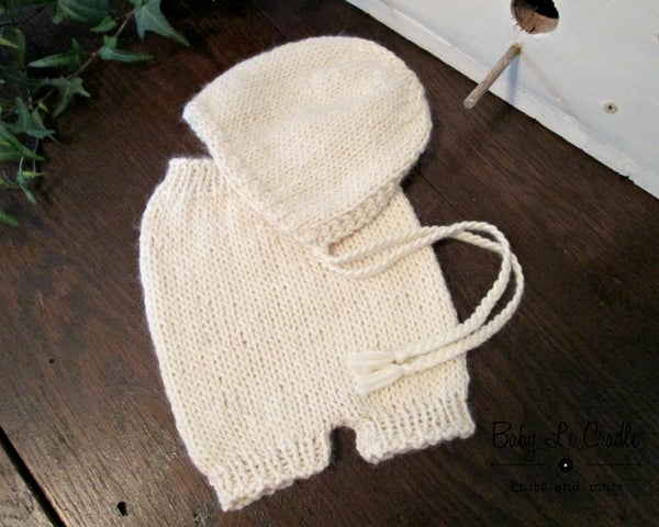 Image of RTS - Sitter SET - Eco Alpaca Cream Bonnet and Shorts