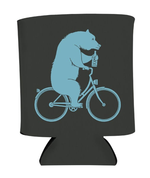 Image of Bear On A Bike Koozie - Black & Blue