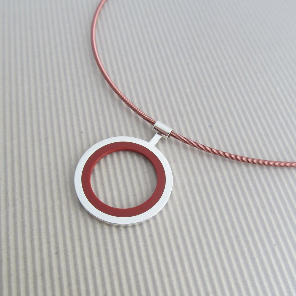 Image of Large Silver Circle Pendant in Autumn Foliage