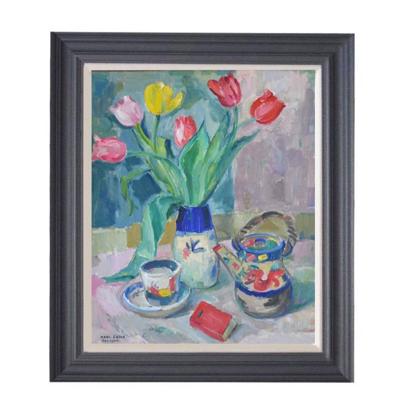Image of Mid-century, Still Life, 'Tea and Tulips.'