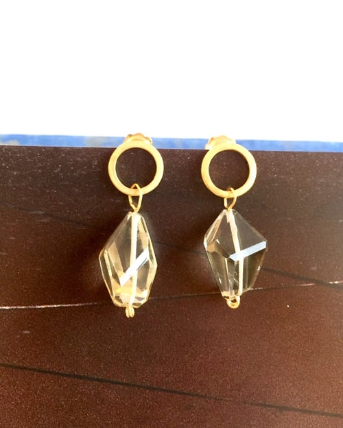 Image of Indian summer studs Lemon citrine 1