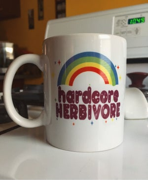 Image of Meat sucks/hardcore herbivore  11oz mug