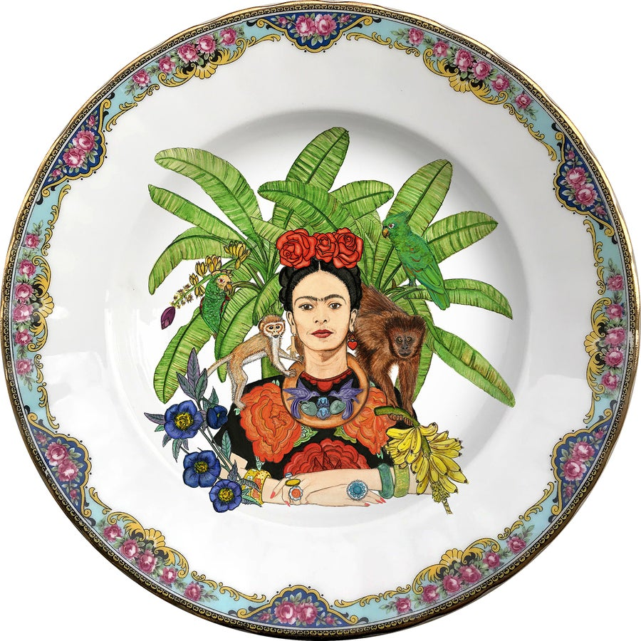 Image of Tropical Mexican watercolor - Vintage Porcelain Plate - #0608