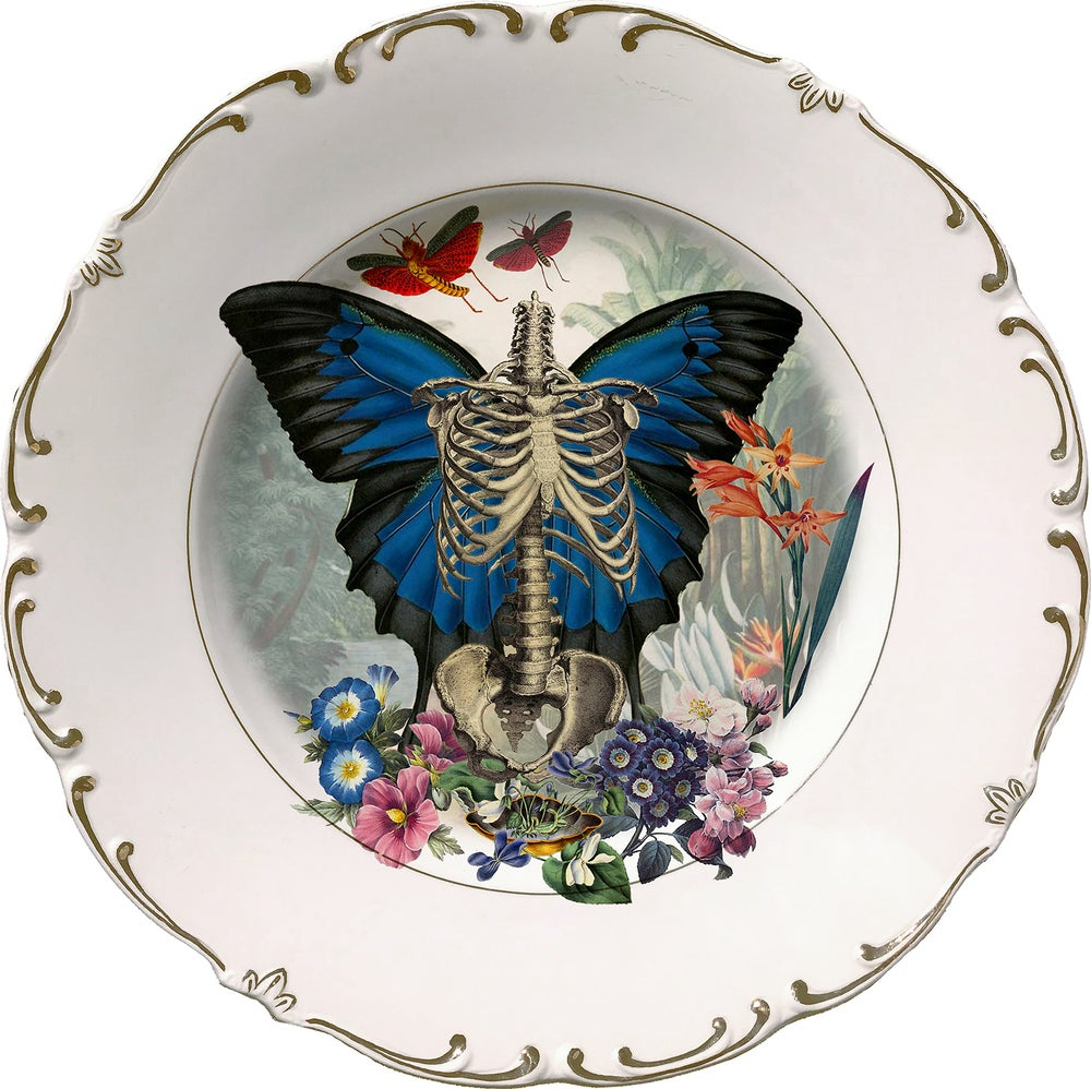 Image of Skeleton N Wings - Vintage Ceramic Plate - #0649
