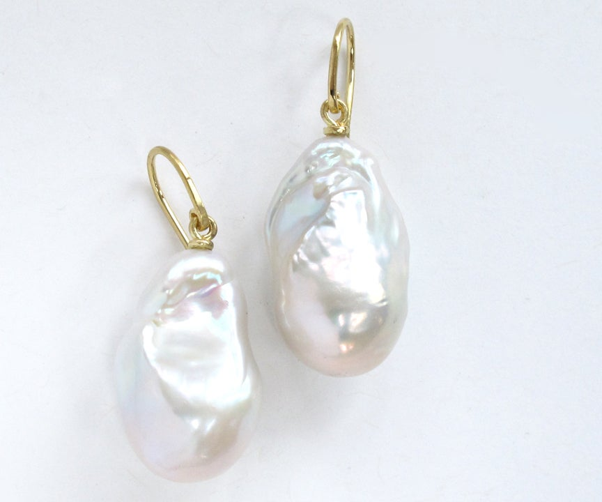 Image of Baroque Large White Fresh Water PearlEarrings