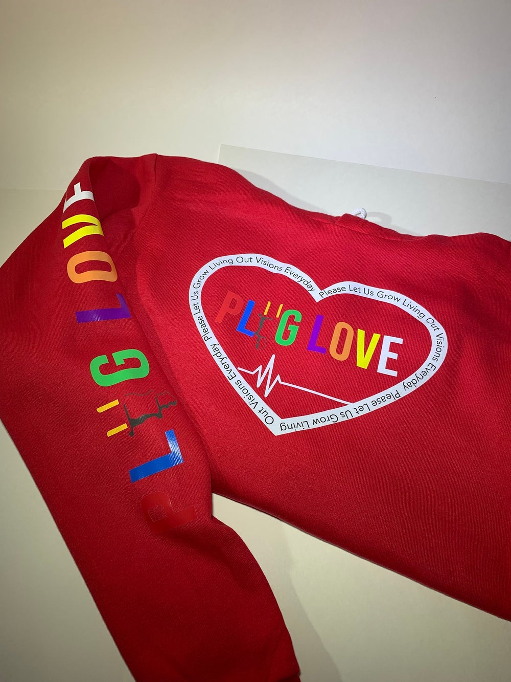 Image Of Red Plug Love Pullover Hoo