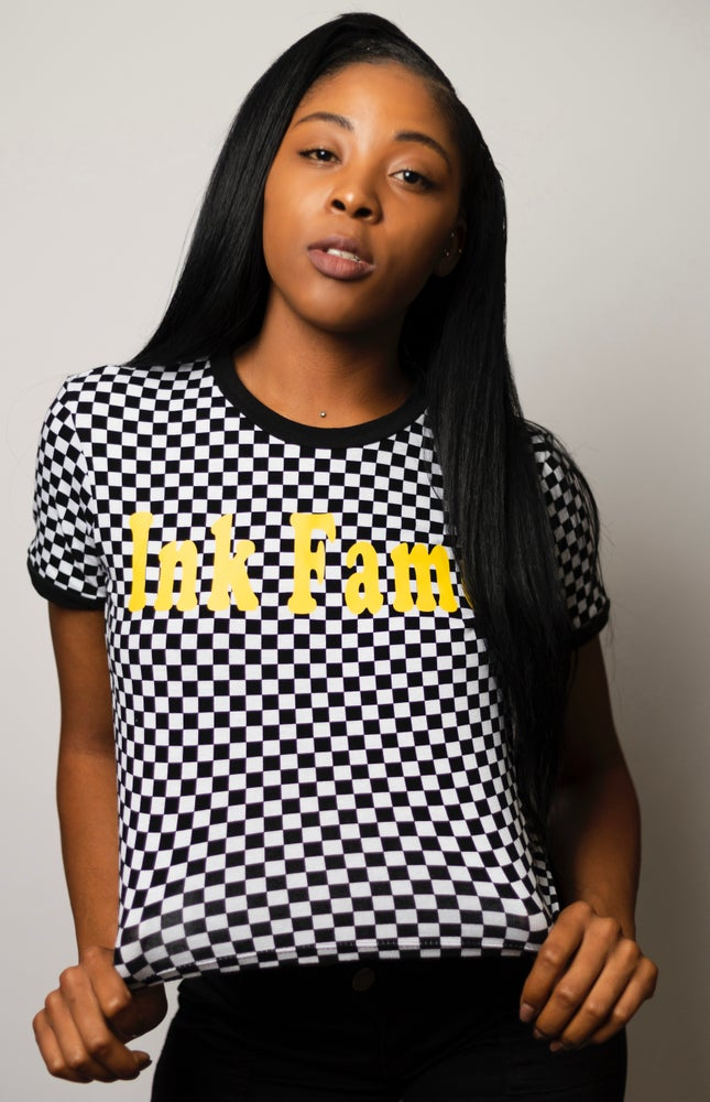 Image of Ink Fame Checked Crop Shirt