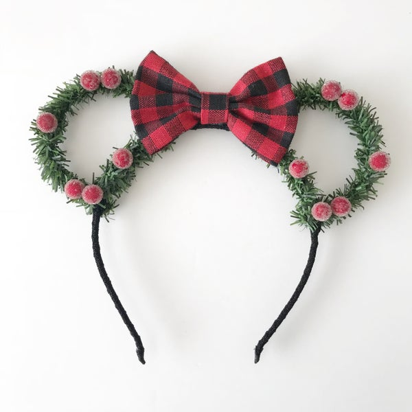 702e903d238b Image of Pine mouse ears with sugared berries and red black gingham bow