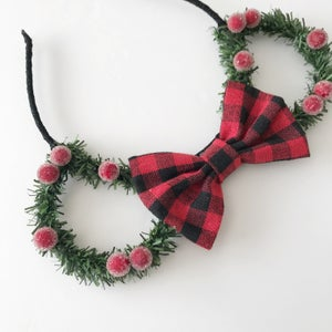Image of Pine mouse ears with sugared berries and red/black gingham bow