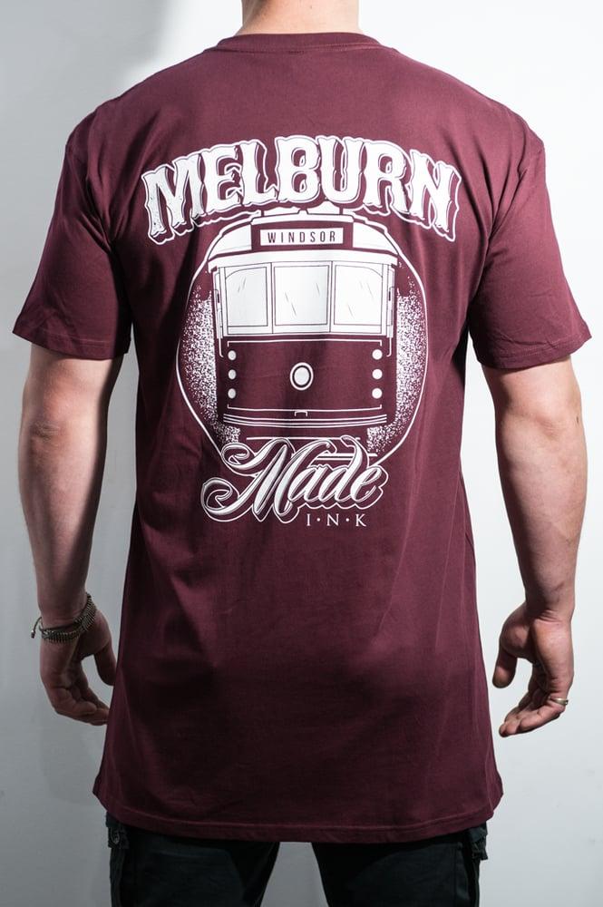 Image of Melburn Made Tram Tee Regular Fit Maroon