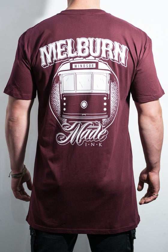 Image of Melburn Made Tram Tee Regular Fit Maroon